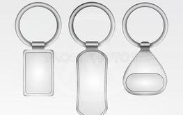 Realistic Template Metal Keychain Vector Set. 3d Key...