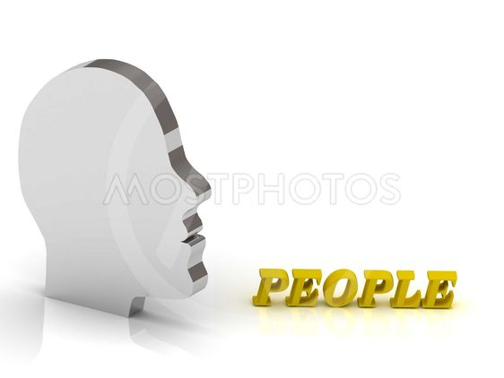 PEOPLE bright color letters and silver head mind