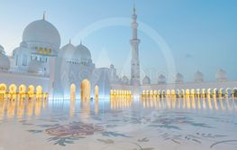 Bright view of Sheikh Zayed Grand Mosque during sunset...