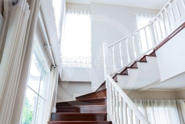 Interior wood stairs and handrail