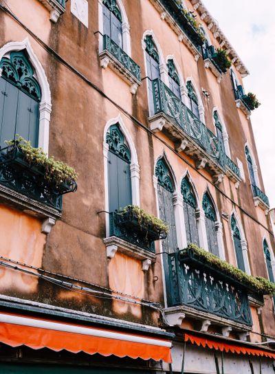 Close-ups of building facades in Venice, Italy. Very...