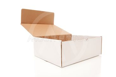 Blank White Cardboard Box Opened Isolated