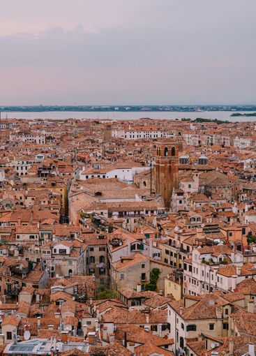 Aerial panoramic view from cathedral bell tower San...