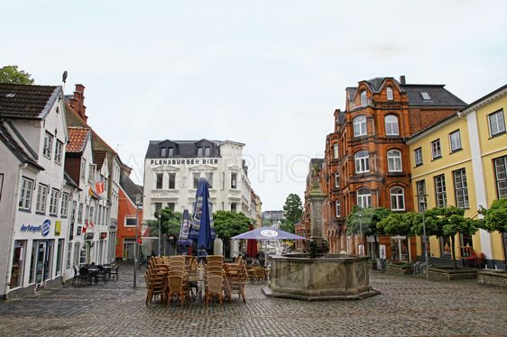 Square in center of Flensburg city, Germany