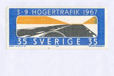 Frimärke högertrafik i Sverige 1967