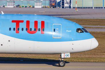 TUI Boeing 787-8 Dreamliner airplane Stuttgart Airport...