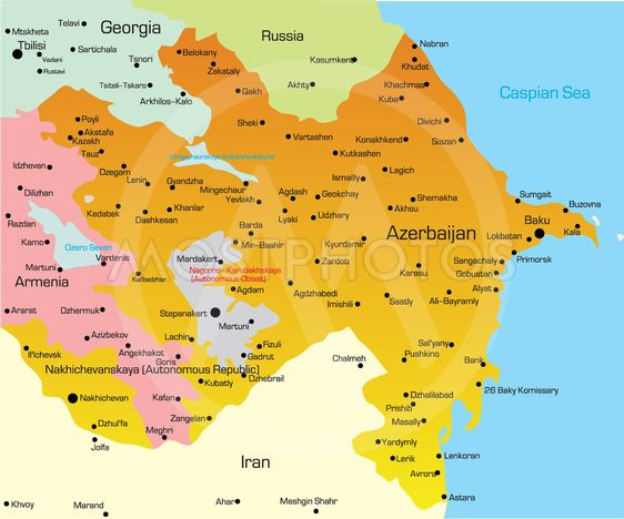 Kort Over Aserbajdsjan Fra Olinchuk Mostphotos