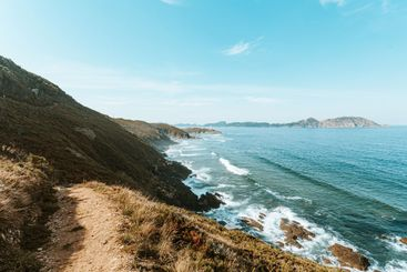 Path near the cliffs in the north of spain with massive...
