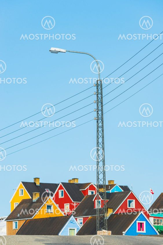 Street lamp in front of buildings