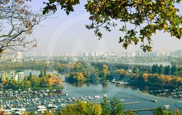 Panoramic view of district Podil and the Dnipro river in...