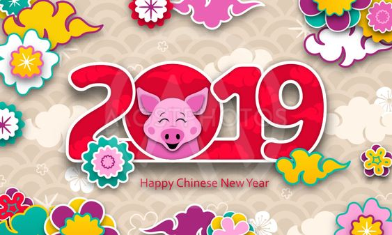 Happy Asian Card for Chinese New Year 2019, Cartoon Pig,...
