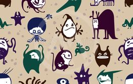 Funny monsters seamless pattern, on beige background