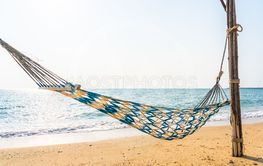 Empty hammock swing on the beautiful beach and sea