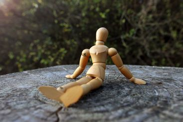 Close up of a wooden mannequin sitting on a tree trunk...