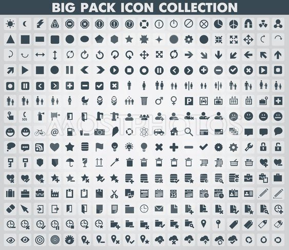 Collection of flat web and mobile icons and symbols, vector