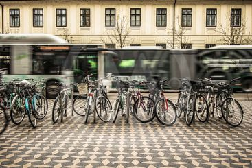 Bicycles used for commuting in a city
