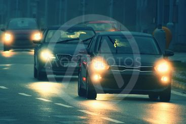 Bad weather driving - foggy hazy country road. Motorway -...