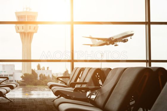 Airport departure all with control tower and airplane on...