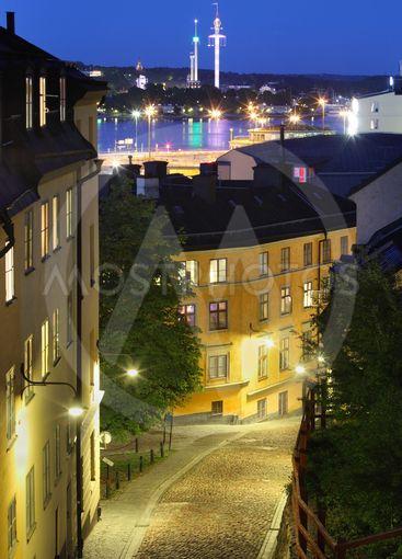 Night view of Stockholm old city