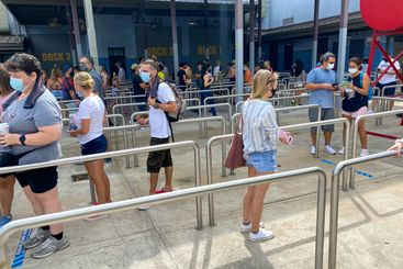 People in line for the Spiderman ride at Universal...