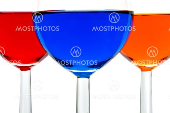 Glasses with color drinks