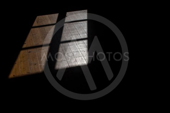 Shadow of window on old wooden floor as background