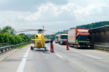 rescue helicopter and truck