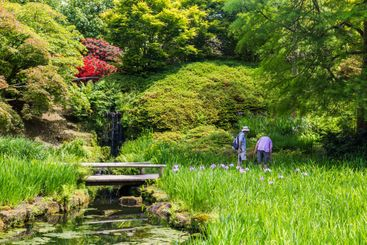 Colorful British castle garden during spring in Sussex,...