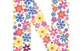 Letter N shape filled with flowers