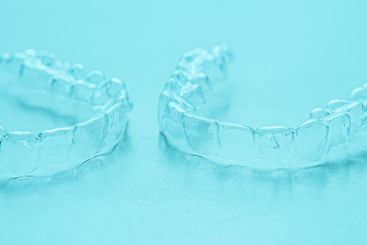 Invisible dental teeth brackets tooth aligners on...