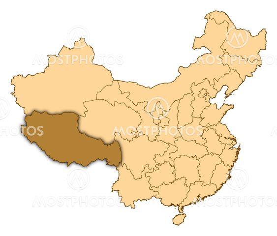 Kort Over Kina Tibet Fremh Fra Steffen Hammer Mostphotos