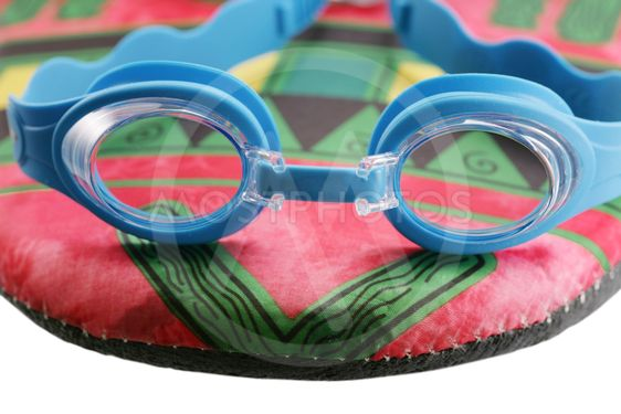 Swim googles and board isolated