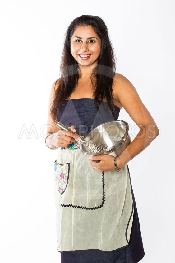 Smiling Indian Woman with Silver Bowl and Whisk