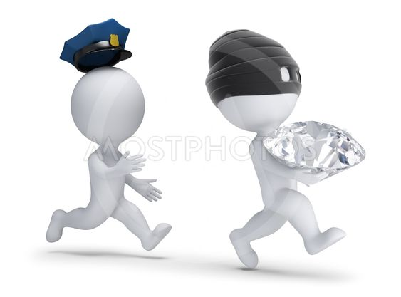 3d small people - thief stole the diamond