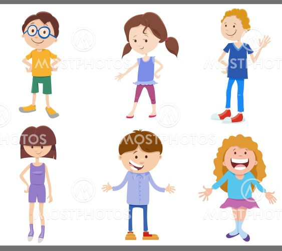 cartoon happy kids and teens comic characters set