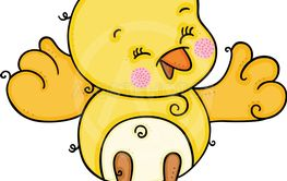 Cute little happy yellow bird