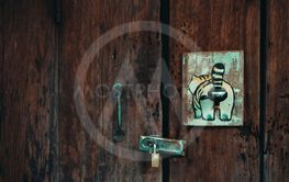Old wooden door with Old keys and painted wooden.