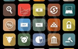 Forex flat icons with lonh shadow