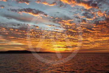 Orange Sunset Seascape, Lake Macquarie.