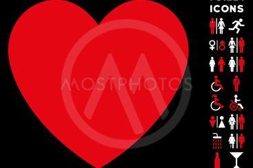 Love Heart Flat Vector Icon and Bonus