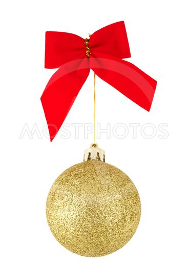 Red Bow and Golden Christmas ball
