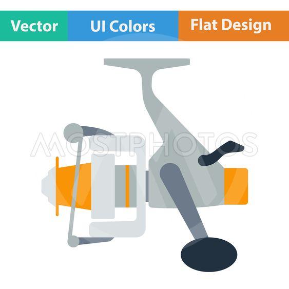 Flat design icon of Fishing reel