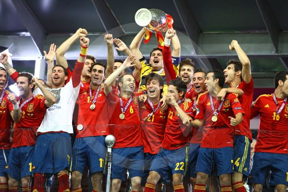 Spain national football team celebrates their winning of...