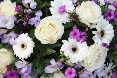purple and white flower arrangement