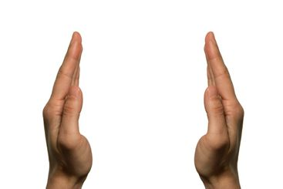 Two hands facing (left hand)