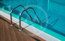 Swimming pool with ladder and water for relaxation