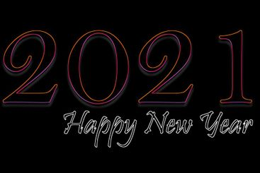 Happy New Year 2021 text design in neon colorful style