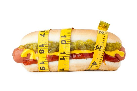 hot dog sandwich with tape measure