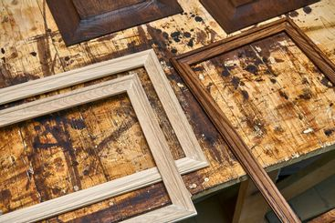 Joinery. Wood panels and moldings for entrance door....