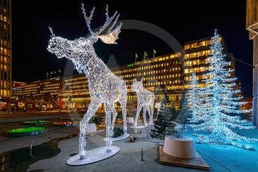 Closeup of christmas decorations in forms of a Moose in...